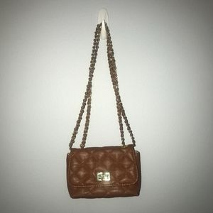 Steve Madden Mini Brown Quilted Chain Link Bag